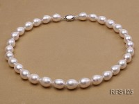 10-11mm White Rice-shaped Freshwater Pearl Necklace and earrings Set