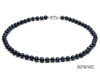 Fashionable Single-strand 8mm Black Round Freshwater Pearl Necklace