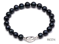 8-8.5mm black round freshwater pearl bracelet