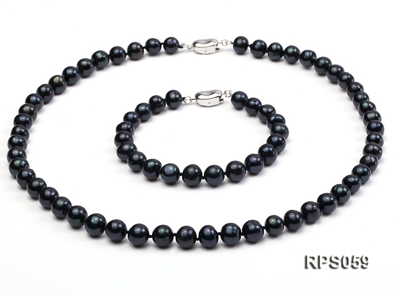 8-8.5mm black round freshwater pearl necklace and bracelet set