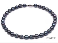 10-11mm Black Rice-shaped Freshwater Pearl Necklace
