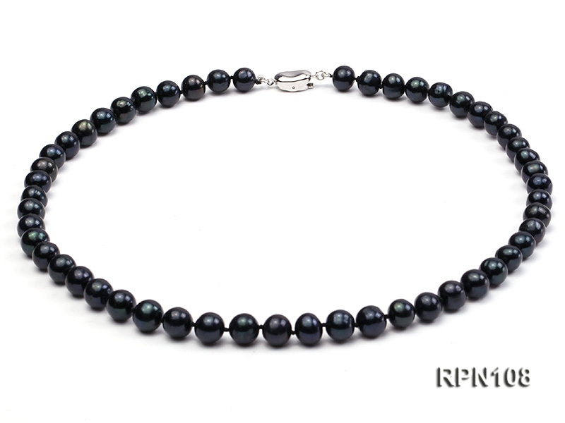 Fashionable Single-strand 8-8.5mm Black Round Freshwater Pearl Necklace