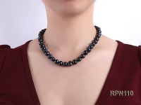 Quality 10-11mm Black Round Freshwater Pearl Necklace