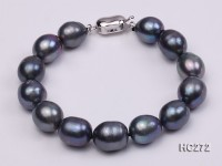 10-11mm black oval freshwater pearl bracelet
