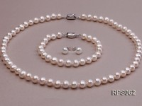 7mm AAA white round freshwater pearl necklace,bracelet and earring set