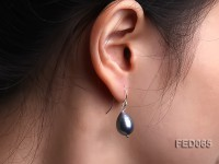 10-11mm Black Drop-shaped Freshwater Pearl Earring