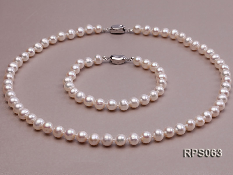7mm AAA white round freshwater pearl necklace and bracelet set