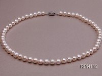 7mm AA Classic White Near Round Freshwater Pearl Necklace