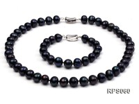 10-11mm black round freshwater pearl necklaceand bracelet set