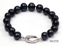 10-11mm black round freshwater pearl bracelet