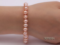 7.5mm AAA pink round freshwater pearl necklace,bracelet and earring set