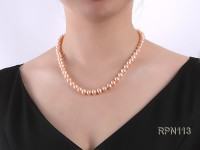 8-8.5mm Pink Round Freshwater Pearl Necklace