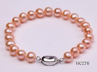7.5mm AAA pink round freshwater pearl bracelet