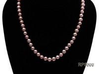 7.5mm AAA lavender round freshwater pearl necklace,bracelet and earring set