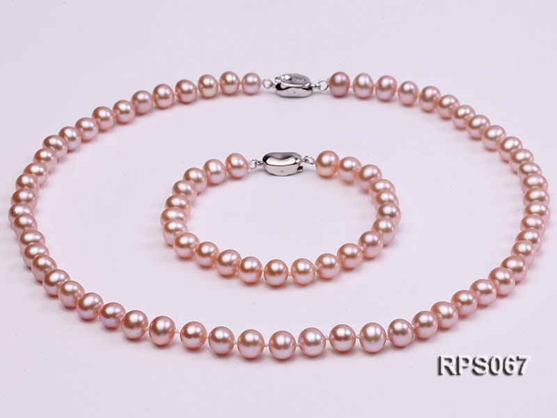 7.5mm AAA lavender round freshwater pearl necklace and bracelet set