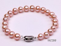 7.5mm AAA lavender round freshwater pearl bracelet