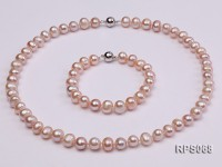 8-9mm lavender round freshwater pearl necklace and bracelet set