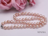8-9mm A-grade Lavender Round Freshwater Pearl Necklace