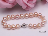 8-9mm A pink round freshwater pearl bracelet