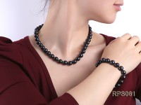 11-12mm black round freshwater pearl necklaceand bracelet set