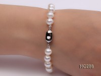 7.5mm AAA white round freshwater pearl bracelet