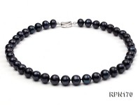 Quality 11-12mm Black Round Freshwater Pearl Necklace