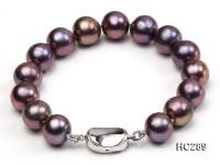 11-12mm black round freshwater pearl bracelet