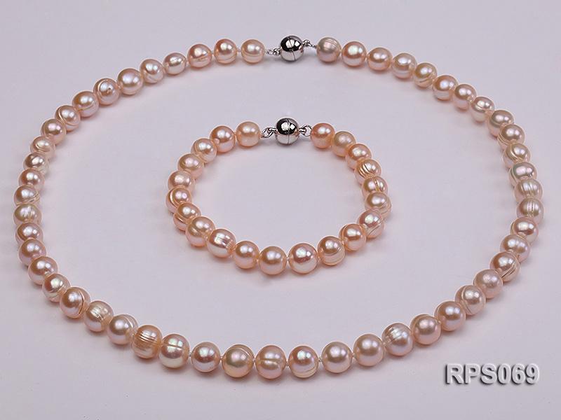 8-9mm  round pink freshwater pearl necklaceand bracelet set