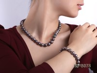 11-12mm black round  freshwater pearl necklace and bracelet set