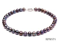 Super-size 11-12mm Black Round Freshwater Pearl Necklace