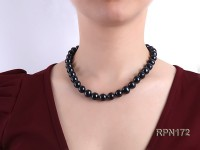Quality 12-13mm Black Round Freshwater Pearl Necklace