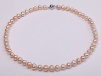 8-9mm Lovely Pink Round Freshwater Pearl Necklace