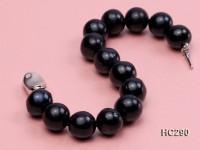 12-13mm black round freshwater pearl bracelet