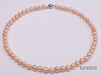 8-9mm round pink freshwater pearl necklaceand bracelet set