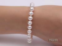 7.5-8mm white round freshwater pearl bracelet