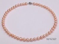 8-9mm Natural Pink Round Freshwater Pearl Necklace