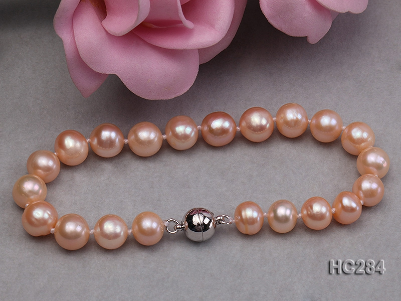 8-9mm pink round freshwater pearl bracelet