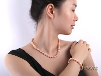 9-10mm round pink freshwater pearl necklaceand bracelet set