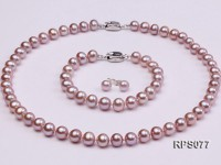 7.5-8mm AAA lavender round freshwater pearl necklace,bracelet and earring set