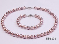 7.5-8mm AAA lavender round freshwater pearl necklace and bracelet set