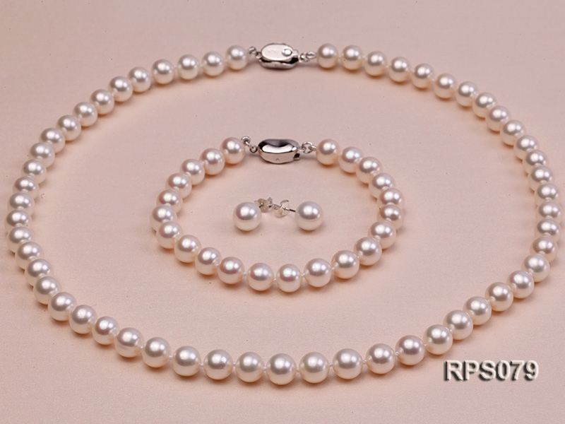 7.5-8mm AAAAA white round freshwater pearl necklace,bracelet and earring set