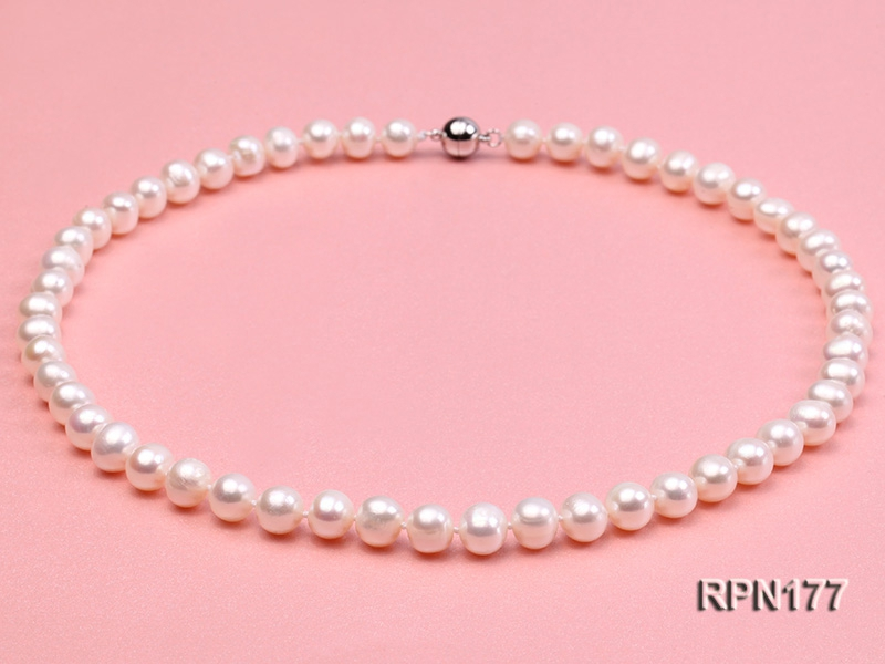 8-9mm Classic White Round Freshwater Pearl Necklace