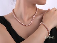 7.5-8mm lavender round freshwater pearl necklace and bracelet set