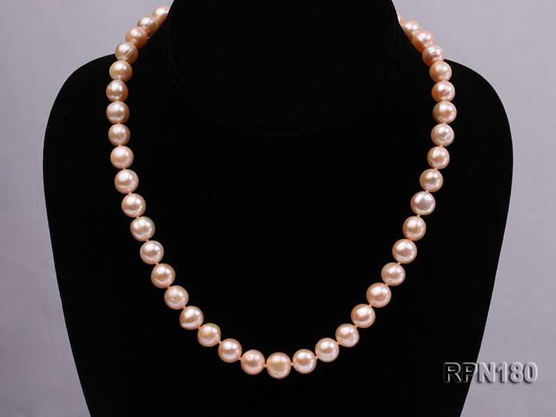 9-10mm Lovely Pink Round Freshwater Pearl Necklace