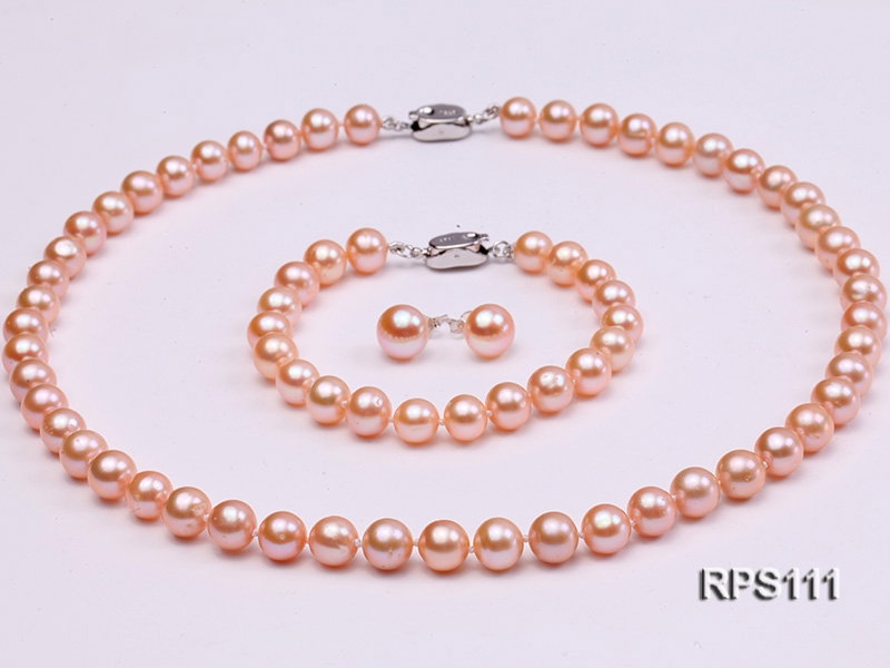8mm AAA pink round freshwater pearl necklace,bracelet and earring set