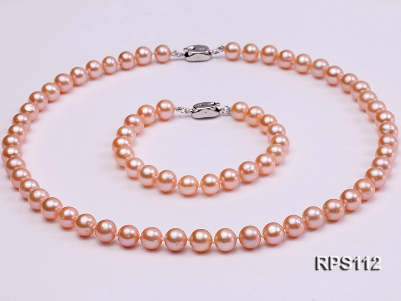 8mm white round freshwater pearl necklace and bracelet set