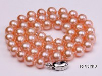 AA-grade 8mm Natural Pink Round Freshwater Pearl Necklace