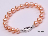 8mm pink round freshwater pearl bracelet