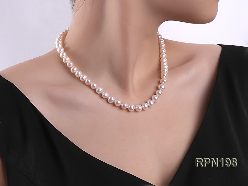 7.5-8mm AAA Classic White Round Freshwater Pearl Necklace