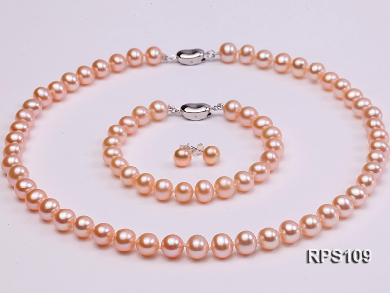8mm AAA pink round freshwater pearl necklace bracelet and earrings set
